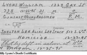Billy Lyons death certificate